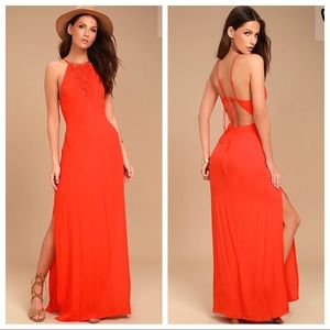 NWT ASTR The Label Petra Red Maxi Dress